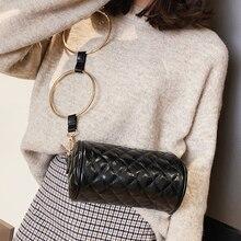 Designer Women's Bags Metal Round Ring Ling Grid Pu Leather  Baguette Cylinder Package Clutch Female Messenger Bags Handbag цена 2017