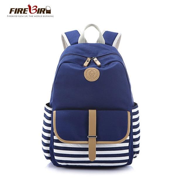 fa7ef62b8390 Women Backpacks For Teenage Teen Girls Canvas Backpack Female Striped  Feminine Backpack School Bagpack Girl Mochila Feminina Bag