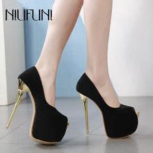 Women Ultra High Heels Wedding Pumps 16cm Peep Toe Sweet Sexy Nightclub Suede Party Shoes Ladies Platform 7cm Thin Metal