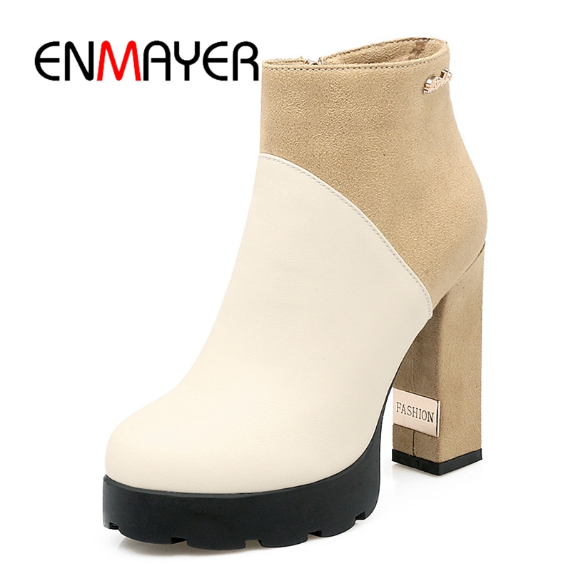 ENMAYER New arrival women flock ankle boots high heels Chelsea boots fashion color block ladies pointed toe shoes ZYL146 enmayer high heels pointed toe spring