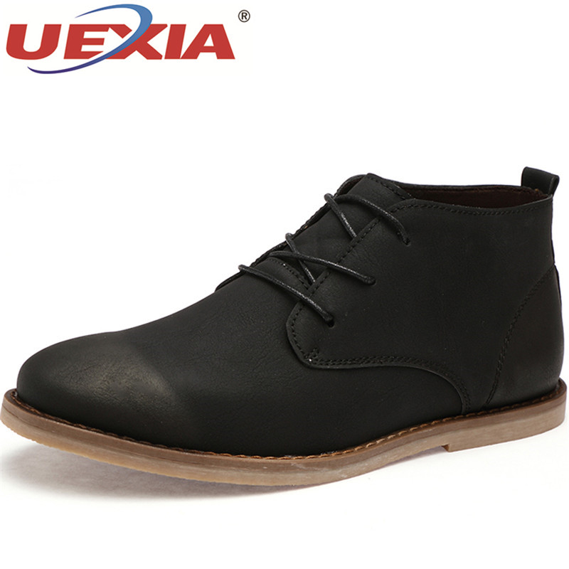 UEXIA Fashion Style Autumn Men Boots Pu Leather Waterproof Casual Shoes Flats Male Working Boots High Quality Ankle Boots Men new arrival patent pu leather men fashion shoes spring autumn summer ankle boots shoes men high top men boots flats shoes