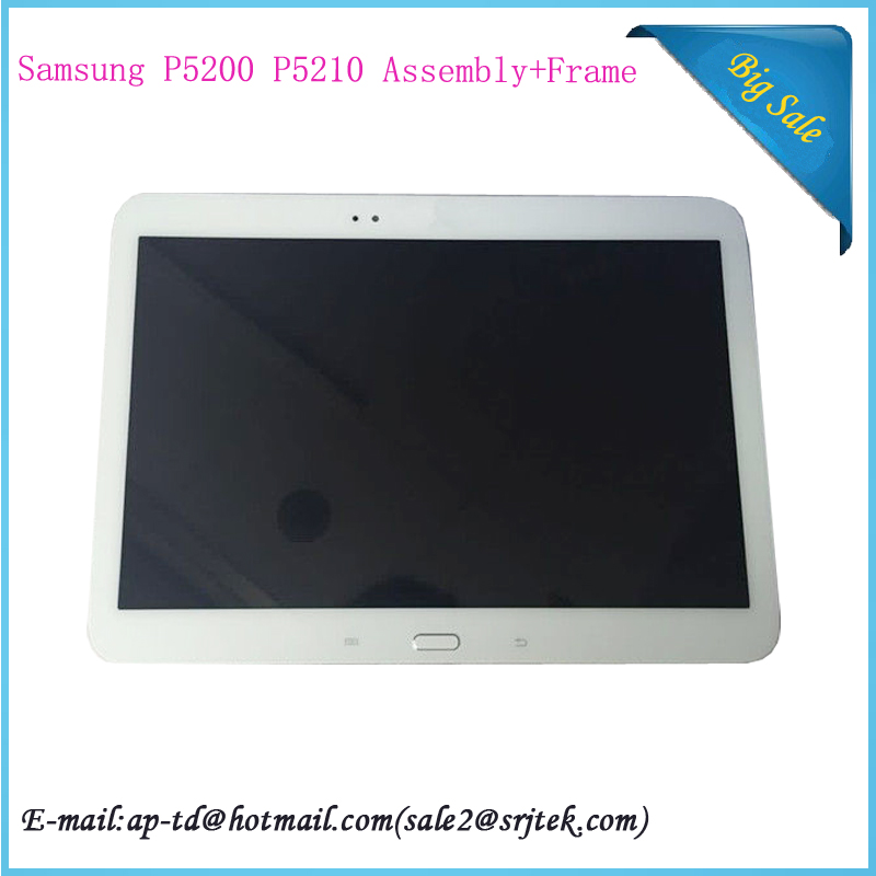 White 10.1 For Samsung Galaxy Tab 3 10.1 P5200 P5210 LCD Display Touch Screen Digitizer Glass Assembly+Frame Tablet PC Panel