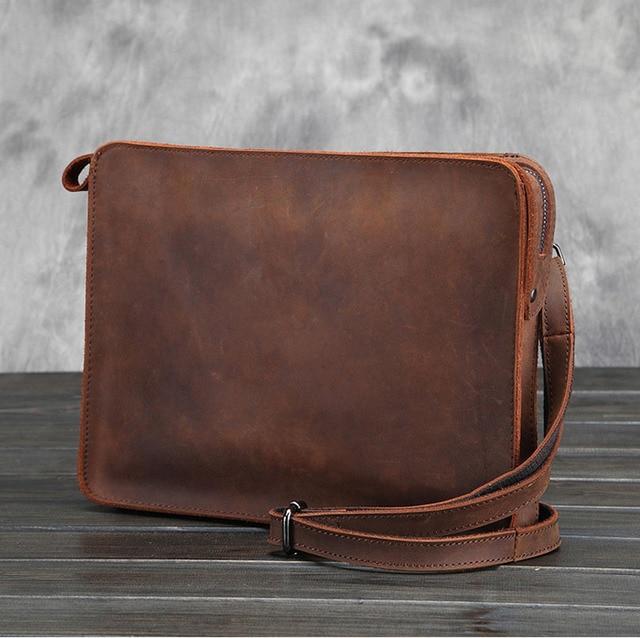 510827f54042 Vintage genuine leather A4 Messenger bag Cowhide iPad Bag Envelope leather  shoulder bag Men leather Day Clutch Bag fast post