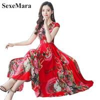 Elegant female bodycon party vestidos beach vacation plus size summer dress 2019 flower chiffon bohemian dress summer dress