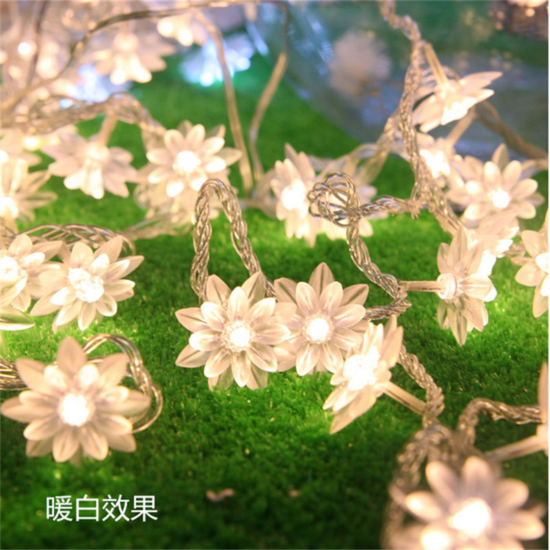 AC 4M 20 LED Lotus Flower lamps String Fairy lights for Wedding/Christmas party/Garland Patio Decoration bedroom night light