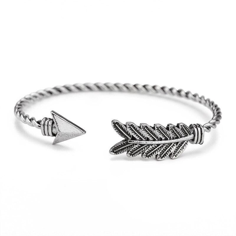 Vintage Retro Triangle Arrow Feather Leaf Open Bracelet Bangle Anqitue Gold Alloy Women Men Jewelery Adjustable Braslet