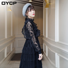Dress Woman Spring Summer 2019 New Fashion Stand Collar Ruffled Lace Stitching Long Sleeved Slim Cake Dress Over The Knees S-XL long sleeved dress women 2019 spring summer new simple stripes turn down collar slim a line casual elegant dress midi s xl