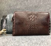 Genuine Alligator Leather mens clutch bag Double zipper multi functional Crocodile leather wallet clutch w/ wrist strap UBEJ0006