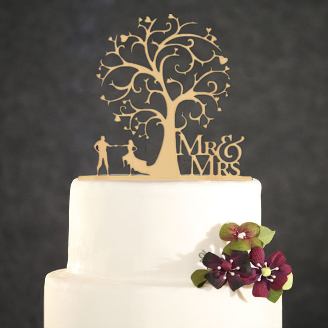 Rustic Wedding Cake Topper Bride and Groom Under the Tree Wooden Mr ...