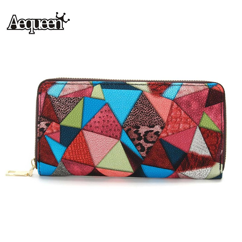 AEQUEEN Color Women Wallets Leather Long Purses Lady Coin Purse Standard Triangle Patchwork Womens Wallet Zipper Pouch Carteria