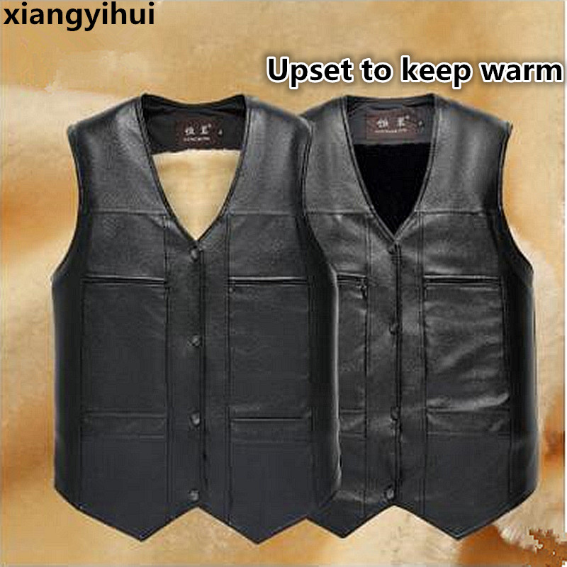 2018 High Quality Brand Large Size Black Leather Vest Men Fleece Lined Warm Jackets Sleeveless Coat Winter Leather Vest