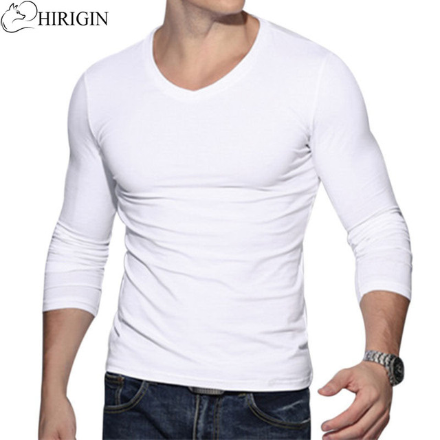 5cb13be3a BasicT Shirt Men Vintage Long Sleeve Solid Color Muscle Fit T Shirts Men  Top Tees V Neck Casual Slim Fit T-shirt Tee Top