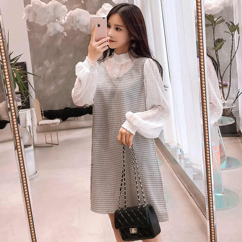 8f891f8672 9389  Sweet Patchwork Maternity Dress 2019 Spring Korean Fashion Clothes  for Pregnant Women Elegant Plaid
