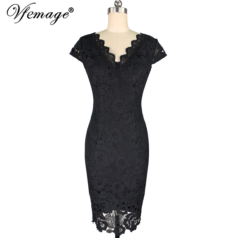 Vfemage Womens elegante Sexy festoneado Crochet Hollow Out Pinup ...