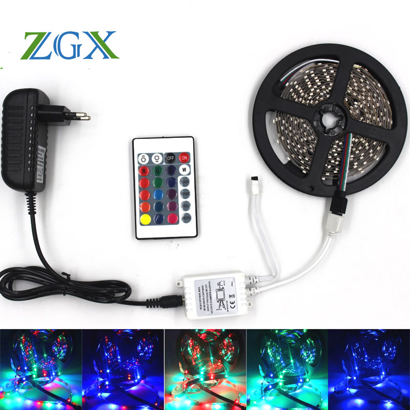 ZGX SMD 3528 5M 10M 15M 300led RGB neon led strip light Waterproof outdoor lighting Tape Ribbon controller DC 12V adapter set