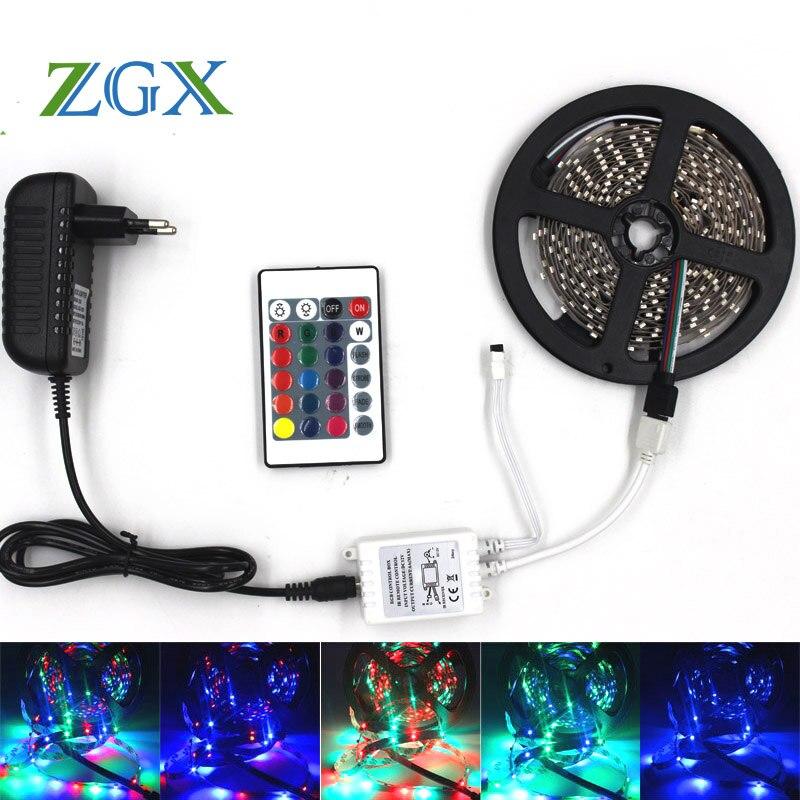 ZGX SMD 3528 5M 10M 15M 300led RGB neon led strip light Waterproof outdoor lighting Tape Ribbon controller DC 12V adapter set