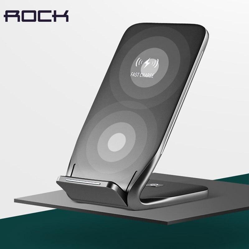 ROCCIA Qi Wireless di Ricarica Veloce Sellphone Dock Station Per iPhoneX/8/8 Plus per Samsung S8/S7 Banca di Potere del USB Caricabatterie Wireless Pad
