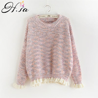 H SA 2017 New Fall Fashion Women Pullover Sweaters V Neck Long Sleeve Lace Pull Jumpers