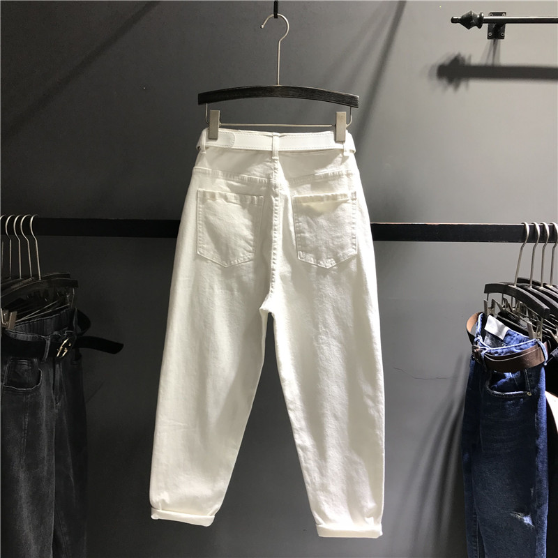 Pantalones Casuales Denim Alta Casual Lavado Cintura K448 Jeans Mujer Blanco De Largos Suelto Para Harem Dama BFzBa0