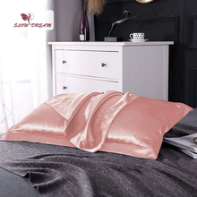 SlowDream Solid Color European Style Bedding Pillowcase Home 100% Silk Pillow Case 48*74CM Cover