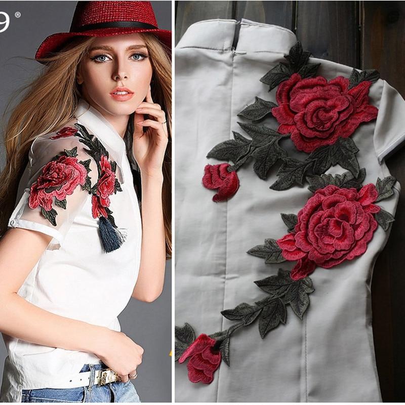 Yüksek Kalite 3D Şakayık Çiçek Elbise Aplike Siyah Organze - Sanat, el sanatları ve dikiş - Fotoğraf 1