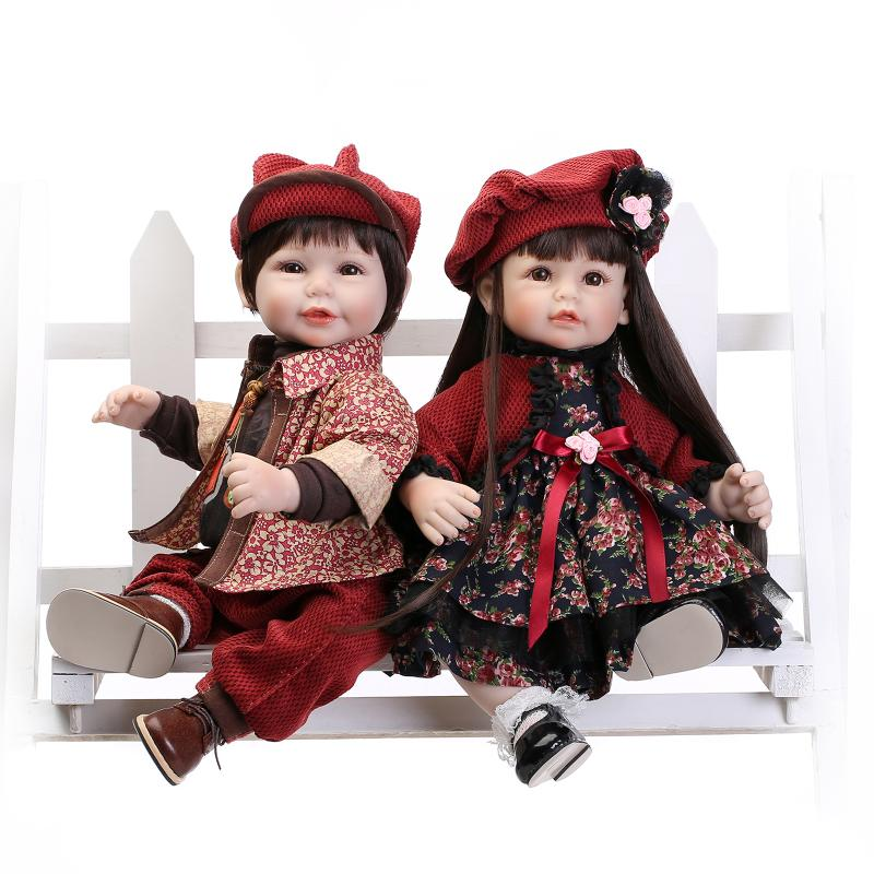 52cm Silicone Bebe Reborn Baby Dolls New Couple Gifts Simulation Alive Girl Boy Doll Wedding Gift