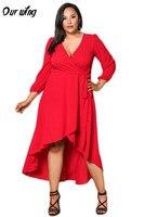 Nasze Skrzydła Sexy Czerwona Sukienka Głębokie V Neck Zima Jesień Plus Size Potargane Suknia Wysoki Niski Trzy Czwarte Rękawem Sukienka Czarny