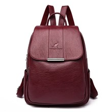 2019 Women Leather Backpacks High Quality Female Vintage Backpack For