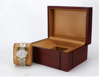 Tree grain lacquered wooden single watch box with leather cushion