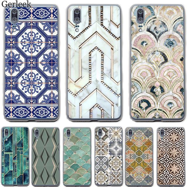 Trường Hợp điện thoại Morocco Nghệ Thuật Deco Gạch Bản Đồ Kim Cương Quy Mô Cover Cho Huawei Mate 10 20 Lite Pro Nova 2i 3 3i Vỏ