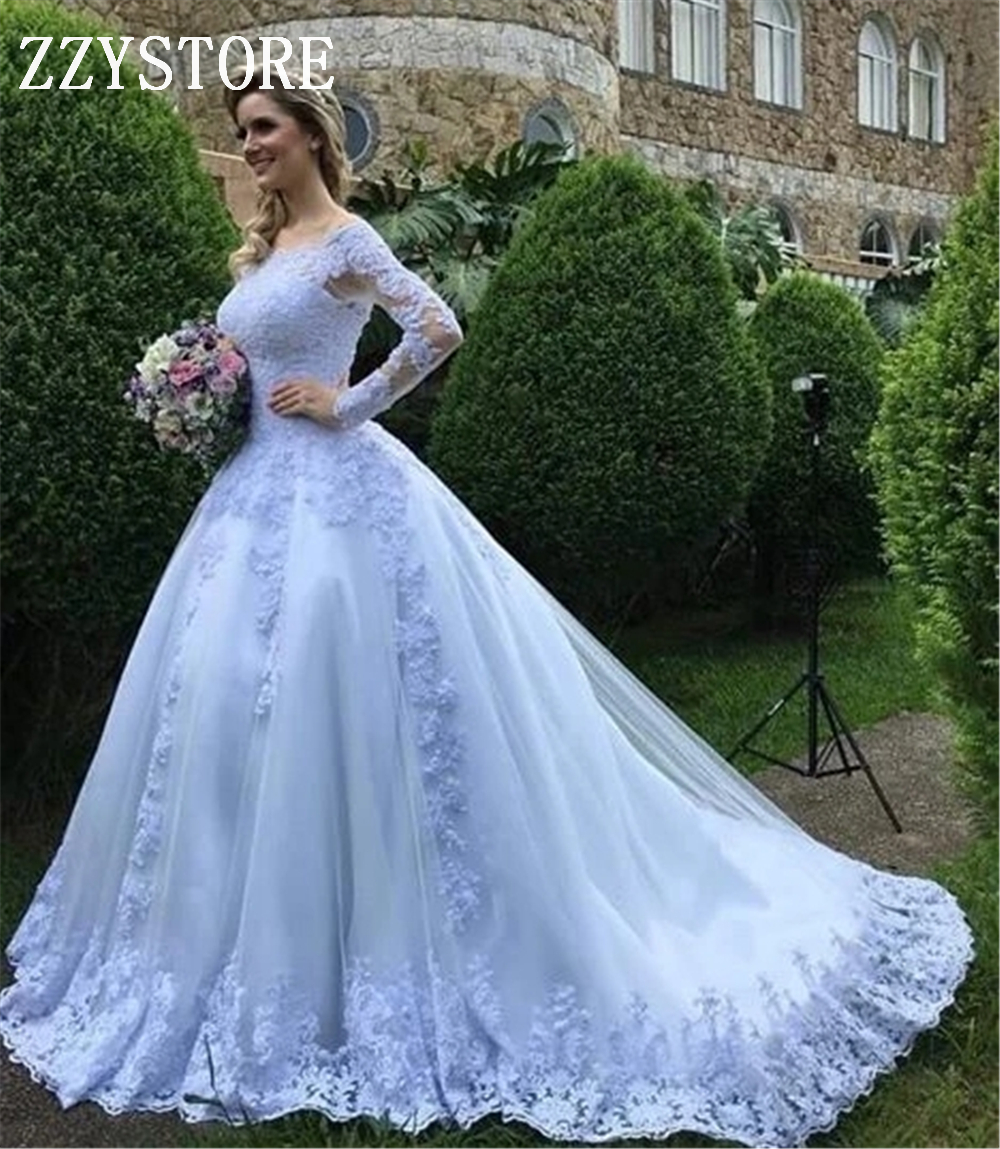 White Ball Gown Arabic White Wedding Dresses Apppliques Long Sleeves Beading Appliques Zipper Up Boat Neck Wedding Dresses