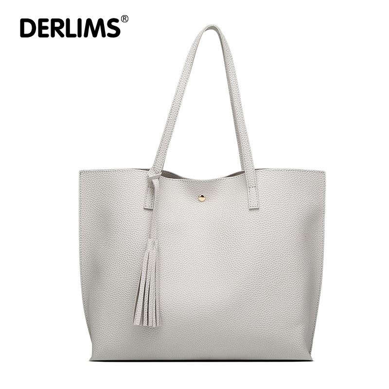 DERLIMS Large Tote Top-Handle Hot Sell Handbags <font><b>7</b></font> Colors Bag Luxury Tassel Pendant Pure Design PU Women Leather Shoulder Bags