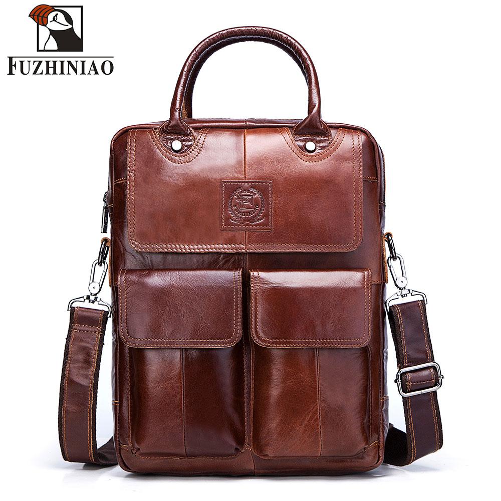 FUZHINIAO New 2018 High Quality Messenger Bags Genuine Leather Bag Men Big Travel Brand Crossbody Shoulder