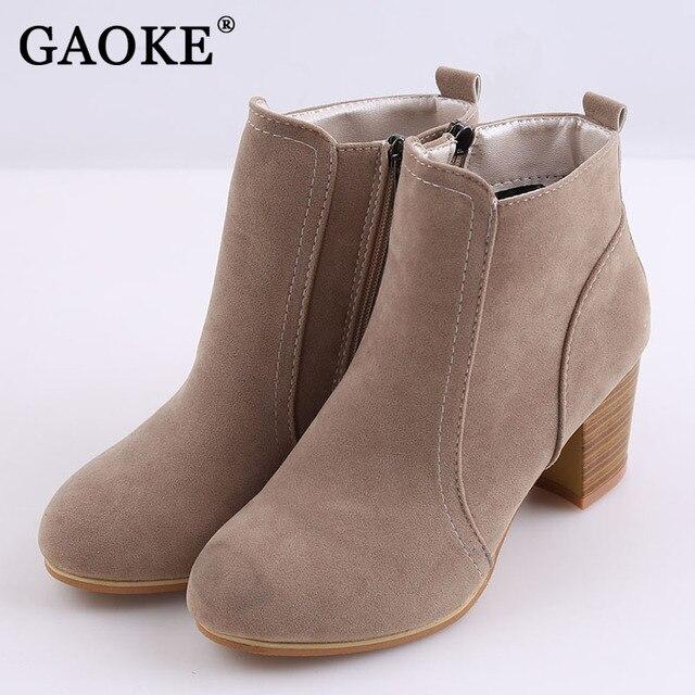Осень-зима Модные женские ботинки круглый носок из флока на высоком каблуке женские мотоциклетные ботинки женская обувь толстый каблук Ботильоны Botas