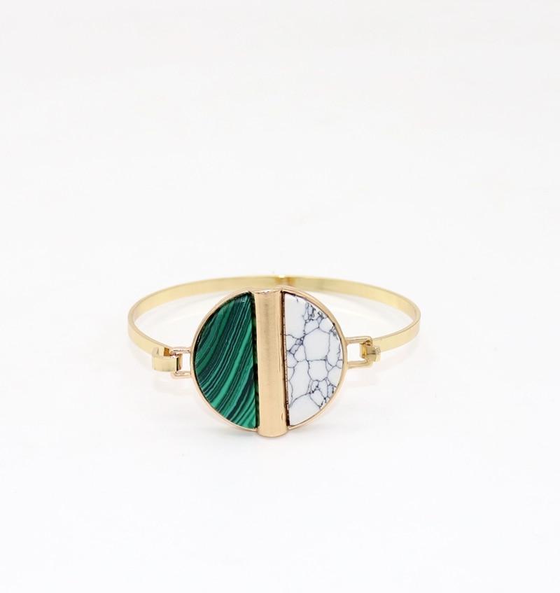 2018 New copper coil cute mix double semicircle stone cuff bracelets & bangles women