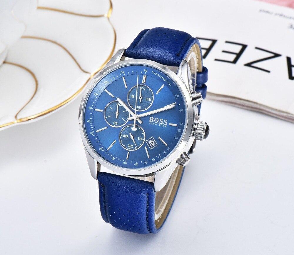 BOSS 2019 hommes montre en cuir automatique Date montres à Quartz marque de luxe étanche Sport montres à Quartz Relogio Masculino - 2