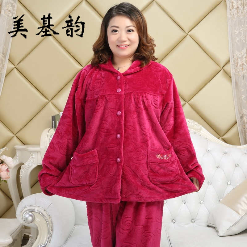 Free Shipping 2017 Women Worm Winter Thicker Flannel Pajam Sleepwear Set Turndown Collar High Quality Large