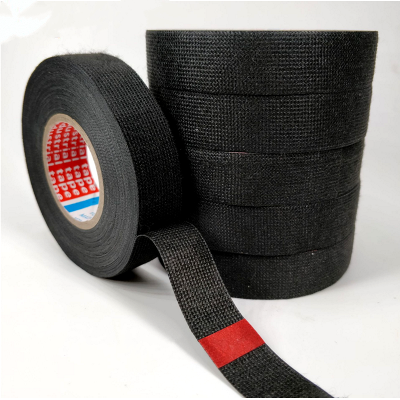 19mmx15m strong adhesive cloth fabric tape black automotive heat-induced  wiring harness car anti rattle