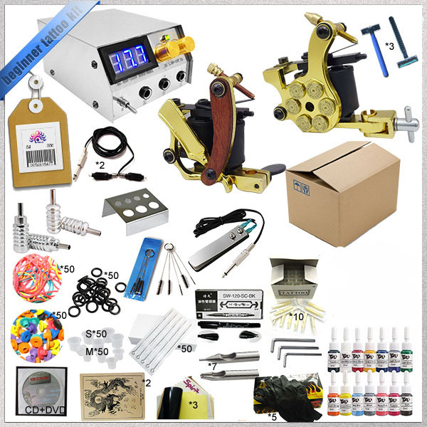 2016 Body art beginner tattoo kit 2 gun tattoo machine Cheap tattoo ink kits TTKS-TK-2514  body of art