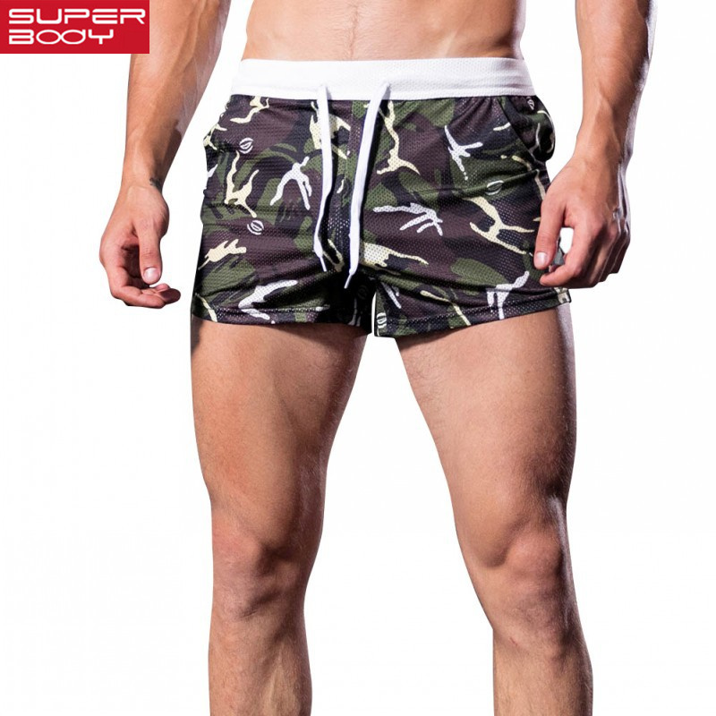 SUPERBODY Men's Medium Waist Home Wear Arrow Shorts Camouflage Prints Mesh Breathable Men's Casual Shorts.