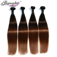 Bigsophy Brazilian Hair Weave Bundles Straight Hair 4 Bundles Remy Hair Extension Ombre Color 3 Tone 1B/4/30 3/4 Bundles deals