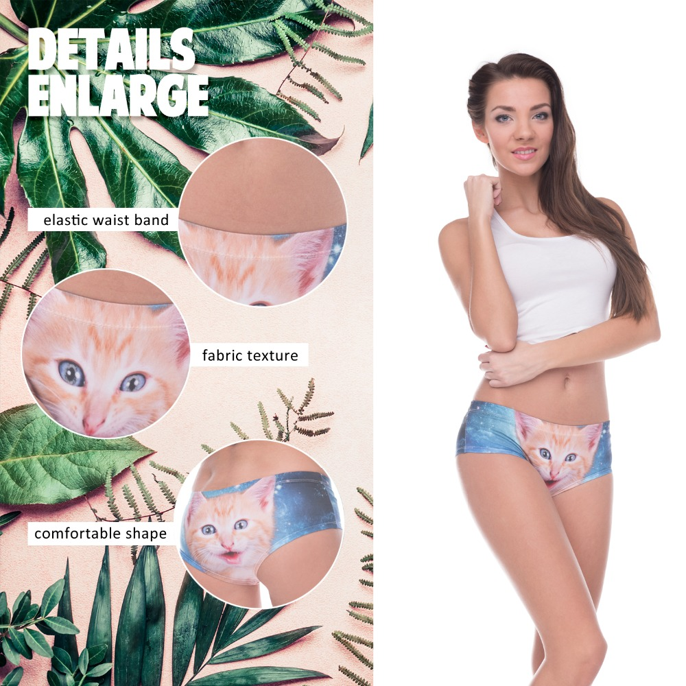 LEIMOLIS galaxy space cat blue funny print sexy hot panties female kawaii Lovely underwear push up briefs women lingerie thongs in women 39 s panties from Underwear amp Sleepwears