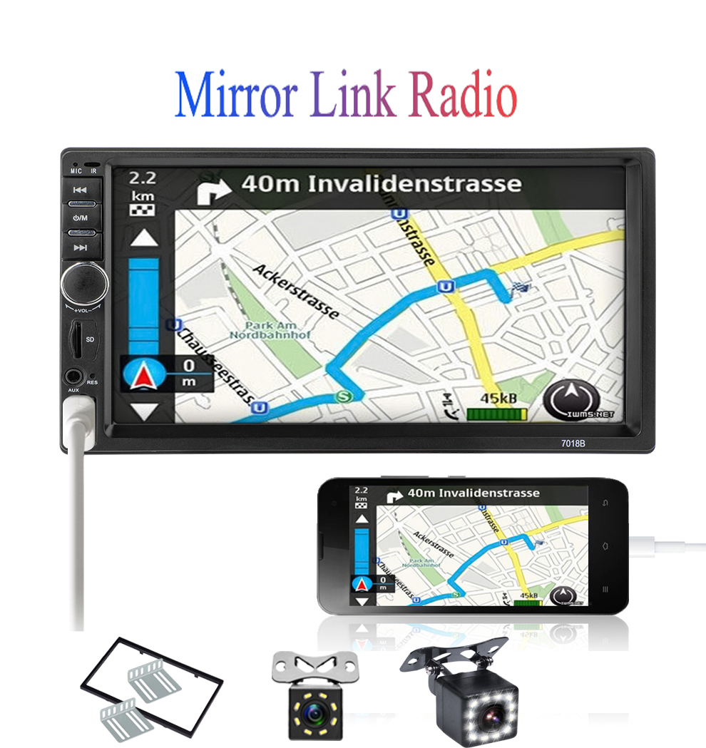 2din 7 inch autoradio LCD Touch car radio player auto audio bluetooth Multimedia Player 7018B USB Car Stereo MP5 Player image