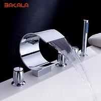 Бесплатная доставка Бакала Современная хромированный Водопад раковины ванной кран для ванной ванна смесители с ручным душем s 208h