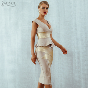 Image 5 - Adyce Ruffles Celebrity Party Dress 2020 New Summer Women Bodycon Set Sleeveless V Neck Front Zipper Bandage Dress Women Vestido