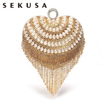 SEKUSA Heart Design Women Day Small Clutches Finger Ring Metal Diamonds Elegant Evening Bags With Handle Beaded Tassel Purse(China)