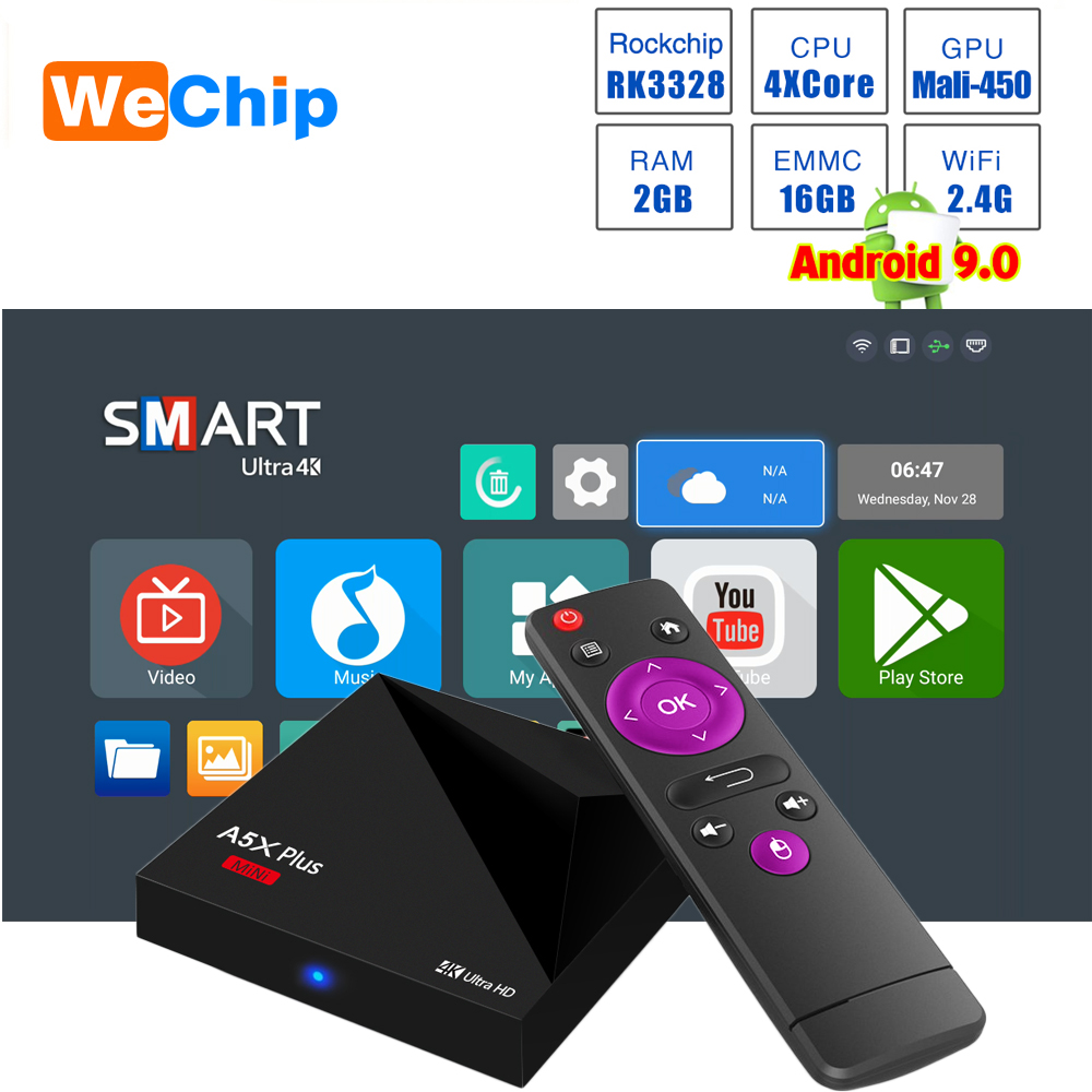 A5X Plus Smart Android 9 0 Mini TV BOX 2G 16G Rockchip RK3328 Quad Core  2 4G WIFI 100M LAN HD 2 0 Set Top box 3 0 USB Ott Player