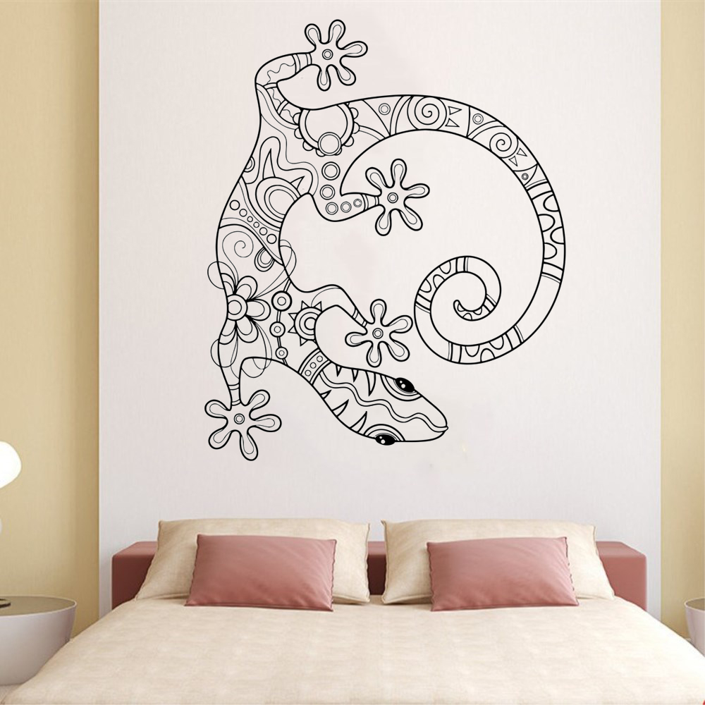Art Wall Sticker Vinyl Art Home Decorative Lizard Gecko Animal Ornament Poster Removeable Modern Mural Fashion Animal LY131 in Wall Stickers from Home Garden
