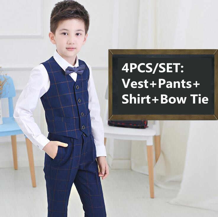 Ubranie dla dzieci dla dzieci Blazer oficjalny garnitur chłopięcy na wesela chłopcy niebieski kraty wydajność stroje kamizelka + spodnie + koszula + muszka 4 sztuk