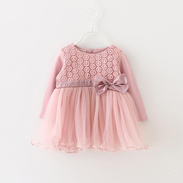 Bebé de la flor de princesa girls dress para recién nacido de manga larga 1-2 años vestidos de cumpleaños del bebé